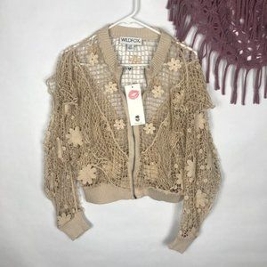 Wildfox Embroidered Flowers Cardigan Size XS